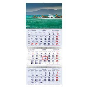 *Kalendārs sienas Standart 3 daļas ar metāl.spirālem,  2018g.