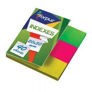 Indeksi 20x50mm 3 krāsu x 40 lpp caurspīdīgi PVC