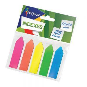 Indeksi-bultiņas, plastikātu, 5 dažādu krāsu x 25 lpp, 12×44 mm